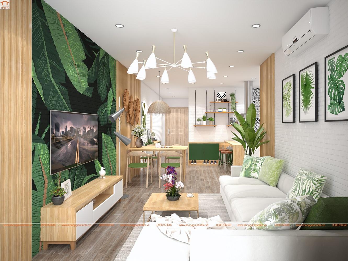 Thiết kế nội thất căn hộ chung cư xanh mát